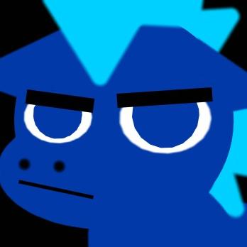 a grumpy blue pony